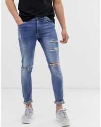 3bbbbc7c412b New Look Super Skinny Jeans With Mustard Side Stripe In Blue Wash in Blue  for Men - Lyst