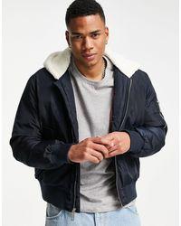 True Religion Bomber Jacket With Sherpa Hood - Blue