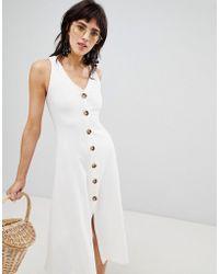 Stradivarius - Ribbed Button Front Sleeveless Dress - Lyst