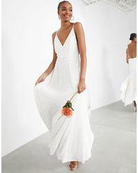 ASOS Josie - Vestito da sposa con spalline sottili e paillettes - Bianco