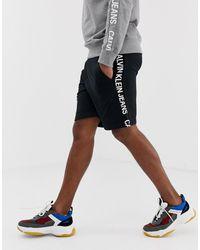 Calvin Klein Short Van Sweaterstof Met Logo Opzij - Zwart