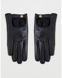 ASOS Черные Кожаные Перчатки Для Сенсорных Экранов - Черный