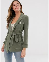 Miss Selfridge Longline Utility Jacket In Khaki - Green