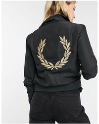Fred Perry X Amy Winehouse - Blouson Harrington en satin avec doublure en tartan - Noir