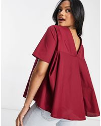 ASOS Short-sleeved Cotton Top With Pleat Back Detail - Red