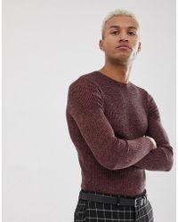 fd31a727 Lyst - ASOS Merino Wool Crew Neck Sweater In Pink Twist in Pink for Men