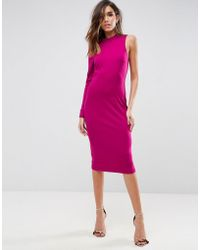 ASOS - High Neck Midi Dress With One Sleeve - Lyst