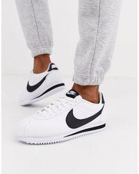 Nike - Бело-черные Кожаные Кроссовки Cortez-белый - Lyst