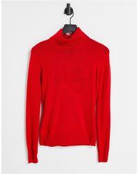 Love Moschino Jersey rojo con cuello vuelto y logo en la parte delantera