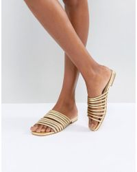 Vagabond - Becky Gold Leather Muti Strap Flat Sandals - Lyst