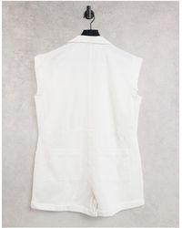 Collusion Short Sleeve Playsuit - White