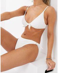 New Look Crinkle Bow Hipster Bikini Bottoms - White