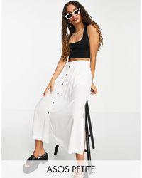 ASOS Asos Design Petite Button Through Midi Skirt With Deep Pocket Detail - White