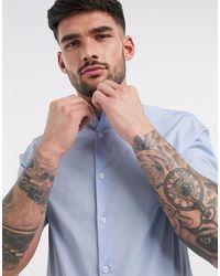 ASOS – Formelles, schmal geschnittenes Stretch-Hemd mit kurzen Ärmeln - Blau