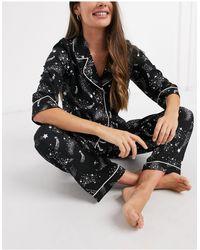 ASOS – Schwarzer Pyjama mit Sternenprint aus 100% Modal, Hemd und gerade geschnittene Hose - Blau