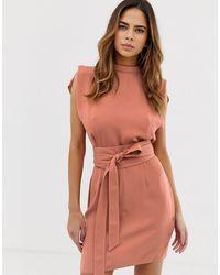 ASOS Split Sleeve Mini Dress With Obi Belt - Orange