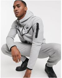 Nike – Tech – Fleece-Kapuzenjacke mit durchgängigem Reißverschluss - Grau