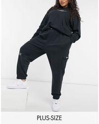 Nike - Черные Флисовые Джоггеры Swoosh Plus-черный Цвет - Lyst