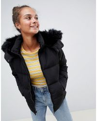 ONLY - Rhonda Down Quilted Jacket With Faux Fur Trim - Lyst