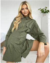 Bershka - Oversize-футболка Цвета Хаки Со Складками -зеленый - Lyst