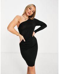 NA-KD Черное Блестящее Платье На Одно Плечо -серебристый - Металлик