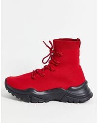 ASOS Download Sock Trainers With Lace Up - Red