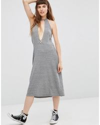 NYTT Elysia Halter Dress With Plunge Front - Grey