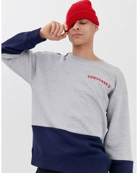 a070297090945b Converse Embossed Graphic Sweatshirt In Black 10001148-a02 in Black ...