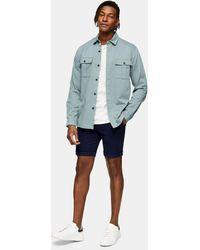 TOPMAN Pantalones chinos cortos ajustados en azul marino