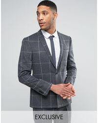 Noak – Schmale Anzugjacke mit geradem Saum - Grau