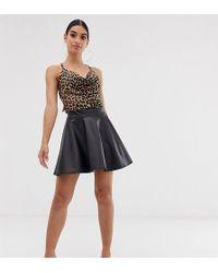Boohoo Leather Look Skater Skirt In Black