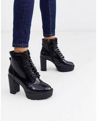 River Island Черные Ботинки На Платформе -черный