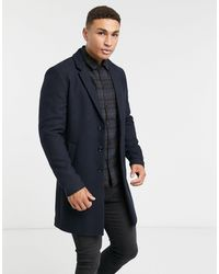 Jack & Jones Темно-синее Пальто Premium-темно-синий