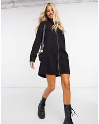 Noisy May Oversized Denim Shirt Dress - Black