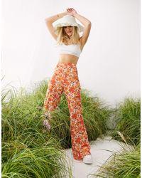 ASOS Retro Floral Flare Pants - Orange