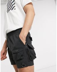ASOS Skinny Cargo Shorts With Zip Details - Black