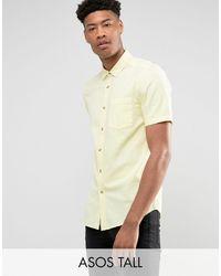 ASOS - Tall - Camicia testurizzata gialla vestibilità classica - Lyst