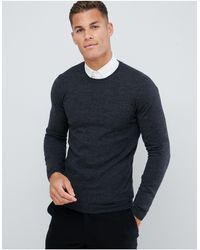 ASOS – Muskel-Pullover aus Merinowolle - Grau
