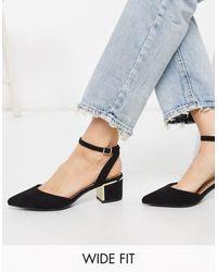 New Look Черные Туфли На Каблуке Для Широкой Стопы С Ремешком На Пятке New Look-черный
