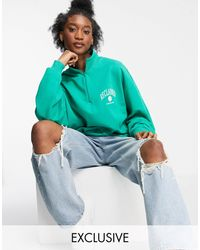 Reclaimed (vintage) Inspired Unisex Track Top With Zip Neck With Logo Chest Print - Green