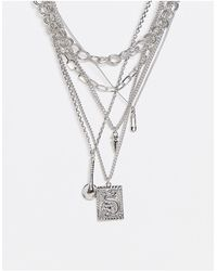 ASOS Short Layered Neckchain Pack With Mundane Item Pendants - Metallic