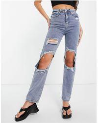 In The Style X Olivia Bowen Distressed Denim Straight Leg Jean - Blue