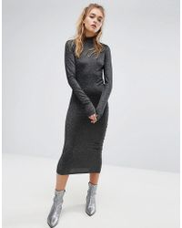 Cheap Monday - High Neck Metallic Dress With Ruching - Lyst