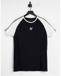 SIKSILK T-shirt premium con fettuccia e maniche raglan colore nero