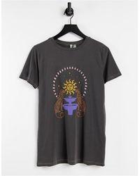 ASOS T-shirt décontracté avec imprimé carte postale - Anthracite délavé - Gris