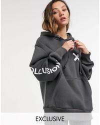 Collusion Sudadera con capucha y logo en gris oscuro unisex
