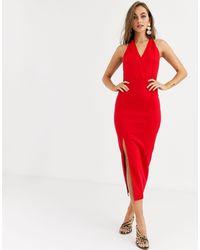 True Violet Halter Plunge Maxi Dress-black - Red