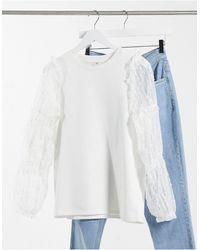 River Island - Floral Mesh Puff Sleeve Sweatshirt - Lyst