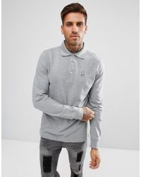 Psycho Bunny - Classic Long Sleeve Polo Regular Fit In Grey Marl - Lyst