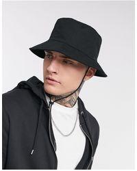 ASOS Safari Bucket Hat Met Brede Rand - Zwart